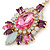 Statement Multicoloured Acrylic, Crystal Bead Chandelier Earrings In Gold Tone - 75mm L - view 3