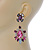 Statement Multicoloured Acrylic, Crystal Bead Chandelier Earrings In Gold Tone - 75mm L - view 6
