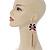 Long Black/ Pink/ Clear Acrylic Bead Tassel Earrings In Gold Tone - 13cm L - view 2