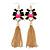 Long Black/ Pink/ Clear Acrylic Bead Tassel Earrings In Gold Tone - 13cm L - view 6