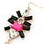 Long Black/ Pink/ Clear Acrylic Bead Tassel Earrings In Gold Tone - 13cm L - view 3
