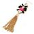 Long Black/ Pink/ Clear Acrylic Bead Tassel Earrings In Gold Tone - 13cm L - view 5