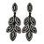 Statement Crystal Leaf Drop Earrings In Black Tone Metal - 70mm L