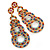 Multicoloured Acrylic Bead, Crystal Graduated Circle Chandelier Earrings - 10cm L