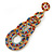 Multicoloured Acrylic Bead, Crystal Graduated Circle Chandelier Earrings - 10cm L - view 3