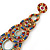 Multicoloured Acrylic Bead, Crystal Graduated Circle Chandelier Earrings - 10cm L - view 4