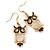 Gold Tone Black Enamel, Cat's Eye Stone Owl Drop Earrings - 45mm L - view 2