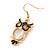 Gold Tone Black Enamel, Cat's Eye Stone Owl Drop Earrings - 45mm L - view 3