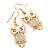 Gold Tone White Enamel, Cat's Eye Stone Owl Drop Earrings - 45mm L - view 6