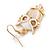 Gold Tone White Enamel, Cat's Eye Stone Owl Drop Earrings - 45mm L - view 3