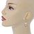Gold Tone White Enamel, Cat's Eye Stone Owl Drop Earrings - 45mm L - view 2
