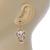 Gold Tone White Enamel, Cat's Eye Stone Owl Drop Earrings - 45mm L - view 4