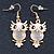 Gold Tone White Enamel, Cat's Eye Stone Owl Drop Earrings - 45mm L - view 5