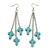 Turquoise Style Triple Cross Chain Dangle Earrings In Silver Tone - 90mm L