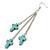 Turquoise Style Triple Cross Chain Dangle Earrings In Silver Tone - 90mm L - view 5