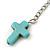 Turquoise Style Triple Cross Chain Dangle Earrings In Silver Tone - 90mm L - view 4