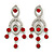 Stunning Bright Red/ Clear Austrian Crystal Chandelier Earrings In Rhodium Plating - 70mm L
