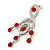 Stunning Bright Red/ Clear Austrian Crystal Chandelier Earrings In Rhodium Plating - 70mm L - view 3