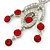 Stunning Bright Red/ Clear Austrian Crystal Chandelier Earrings In Rhodium Plating - 70mm L - view 4