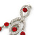 Stunning Bright Red/ Clear Austrian Crystal Chandelier Earrings In Rhodium Plating - 70mm L - view 6