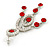 Stunning Bright Red/ Clear Austrian Crystal Chandelier Earrings In Rhodium Plating - 70mm L - view 5