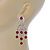 Stunning Bright Red/ Clear Austrian Crystal Chandelier Earrings In Rhodium Plating - 70mm L - view 7