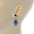 Prom/ Bridal Sapphire Blue/ Clear Austrian Crystal Oval Drop Earrings In Rhodium Plating - 38mm L - view 6