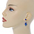 Prom/ Bridal Sapphire Blue/ Clear Austrian Crystal Oval Drop Earrings In Rhodium Plating - 38mm L - view 2