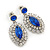 Prom/ Bridal Sapphire Blue/ Clear Austrian Crystal Oval Drop Earrings In Rhodium Plating - 38mm L - view 7
