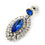 Prom/ Bridal Sapphire Blue/ Clear Austrian Crystal Oval Drop Earrings In Rhodium Plating - 38mm L - view 3