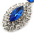 Prom/ Bridal Sapphire Blue/ Clear Austrian Crystal Oval Drop Earrings In Rhodium Plating - 38mm L - view 4