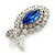 Prom/ Bridal Sapphire Blue/ Clear Austrian Crystal Oval Drop Earrings In Rhodium Plating - 38mm L - view 5