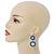 Sapphire Blue/ AB Austrian Crystal, Pearl Double Hoop Drop Earrings In Rhodium Plating - 55mm L - view 7
