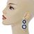 Sapphire Blue/ AB Austrian Crystal, Pearl Double Hoop Drop Earrings In Rhodium Plating - 55mm L - view 2