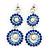 Sapphire Blue/ AB Austrian Crystal, Pearl Double Hoop Drop Earrings In Rhodium Plating - 55mm L