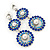 Sapphire Blue/ AB Austrian Crystal, Pearl Double Hoop Drop Earrings In Rhodium Plating - 55mm L - view 6