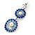 Sapphire Blue/ AB Austrian Crystal, Pearl Double Hoop Drop Earrings In Rhodium Plating - 55mm L - view 8