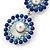 Sapphire Blue/ AB Austrian Crystal, Pearl Double Hoop Drop Earrings In Rhodium Plating - 55mm L - view 3