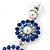 Sapphire Blue/ AB Austrian Crystal, Pearl Double Hoop Drop Earrings In Rhodium Plating - 55mm L - view 4