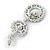 Sapphire Blue/ AB Austrian Crystal, Pearl Double Hoop Drop Earrings In Rhodium Plating - 55mm L - view 5