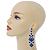 Long Sapphire Blue Austrian Crystal Chandelier Earrings In Rhodium Plating - 90mm L - view 5