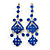 Long Sapphire Blue Austrian Crystal Chandelier Earrings In Rhodium Plating - 90mm L - view 1