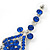 Long Sapphire Blue Austrian Crystal Chandelier Earrings In Rhodium Plating - 90mm L - view 4
