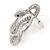 Rhodium Plated Austrian Crystal Snake Stud Earrings - 35mm L - view 10
