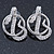 Rhodium Plated Austrian Crystal Snake Stud Earrings - 35mm L - view 7