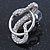 Rhodium Plated Austrian Crystal Snake Stud Earrings - 35mm L - view 5