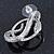 Rhodium Plated Austrian Crystal Snake Stud Earrings - 35mm L - view 6