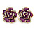 Purple Enamel Crystal Rose Stud Earrings In Gold Tone - 20mm Diameter