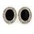 Crystal, Black Enamel Oval Stud Earrings In Rhodium Plating - 20mm L