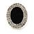 Crystal, Black Enamel Oval Stud Earrings In Rhodium Plating - 20mm L - view 4